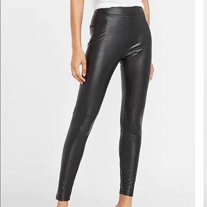 Express   Black Faux Leather Cigarette Ankle Pants